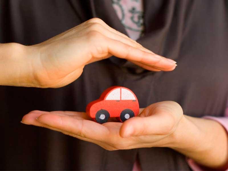 pequeño auto entre las manos