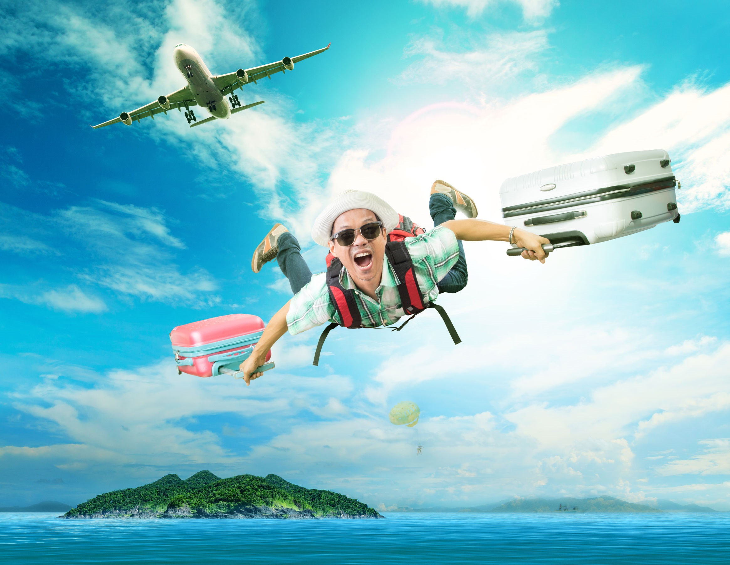 40132620 - young man flying from passenger plane to natural destination island on blue ocean with happiness face emotion use for people traveling on vacation holiday in summer season